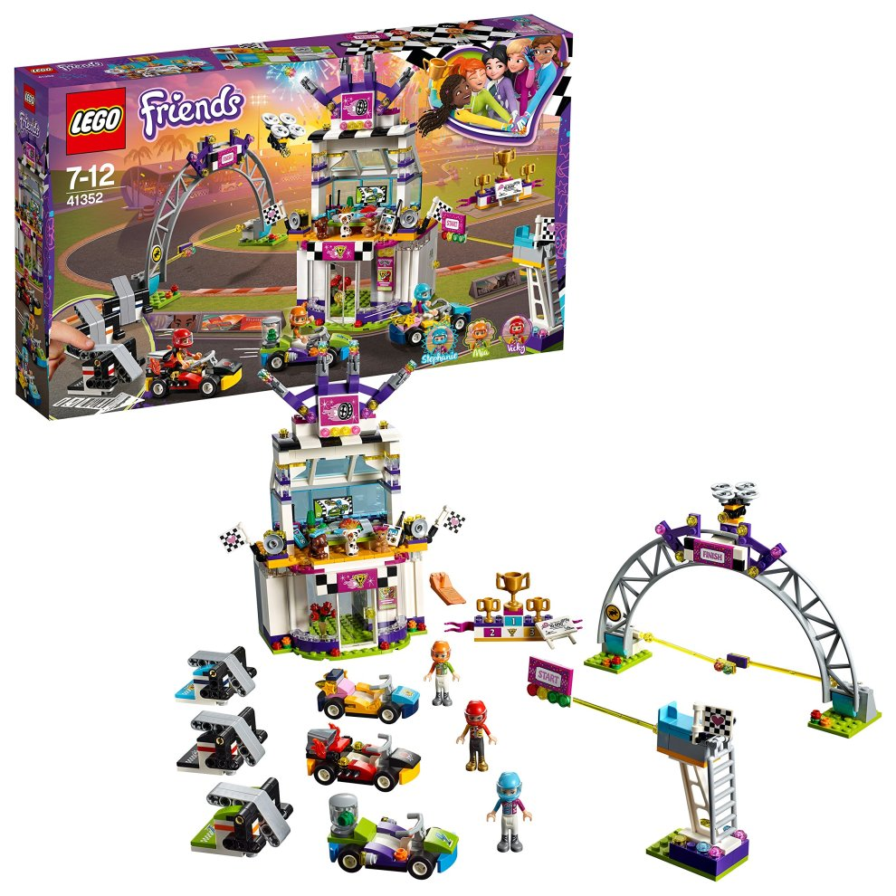 LEGO 41352 Friends Heartlake The Big Race Day Playset, Stephanie Mia and Vicky Mini Dolls, Mini Racing Toy Cars