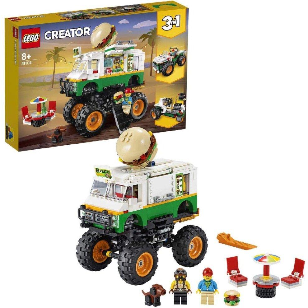 LEGO 31104 Creator 3-in-1 Monster Burger Truck, Off Roader, Tractor Hauler